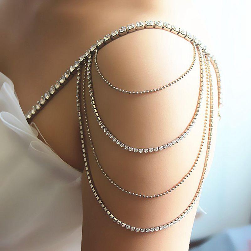 2pcs Pairs 4 Rows Bridal Shoulder Chain Bra Straps