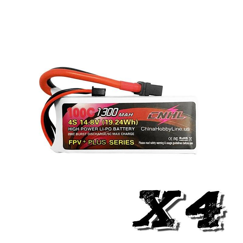 4PCS G+PLUS CNHL 1300mAh 14.8V 4S 100C(Max 200C) Lipo Battery Pack With XT60 Plug For RC Boat Heli Airplane UAV Drone FPV RACING eachine 14 8v 1300mah 4s 35c xt60 lipo battery for rc multirotors