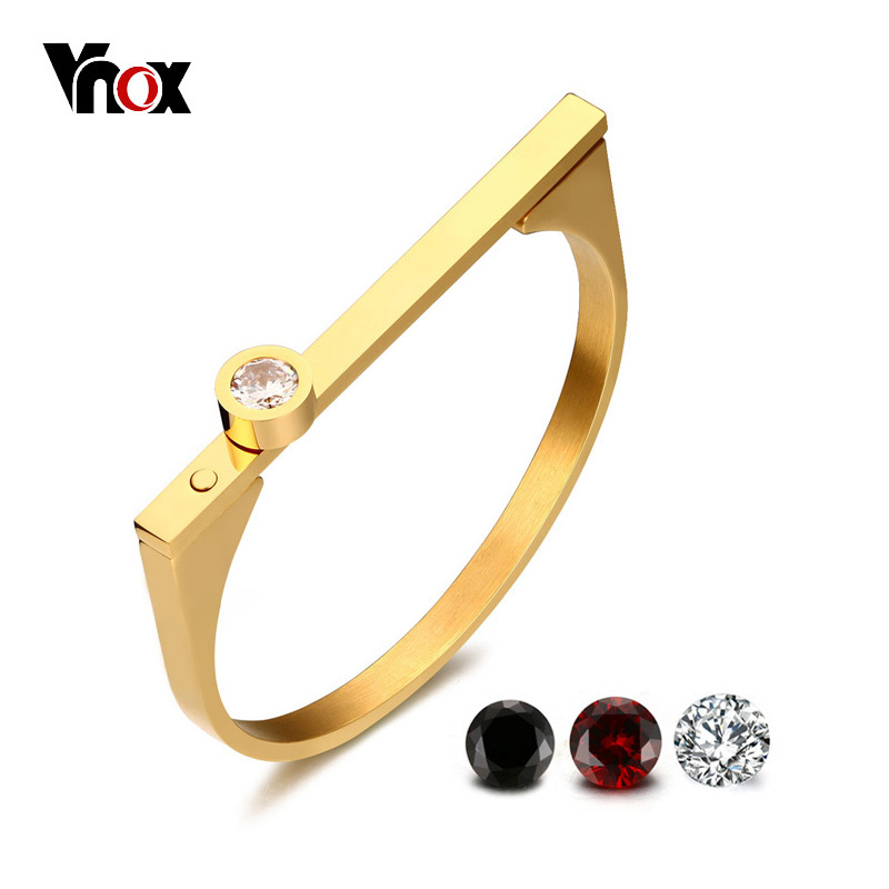 Vnox Temperament Cuff Bracelet for Women Bangle Gold Color Stainless Steel 3pcs AAA CZ Stones Replacement Elegant Female Jewlery ...