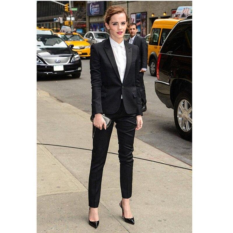 New Fashion Black Single Buckle Temperament Women's Suit Two-piece Suit (jacket + Pants) Women's Business Casual Suit