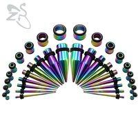1.6-10mm 5 Colors Lot Popular Ear Tunnel Plug Piercings Stainless Steel Fresh Ear Expander Stretcher Tapers Women Men Jewelry