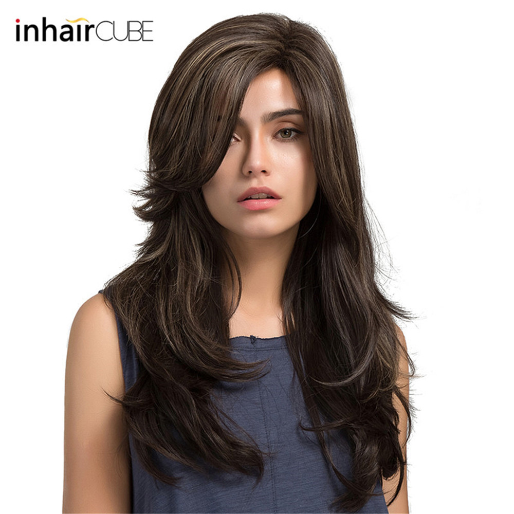 Wigs Wig-Cap Synthetic Long for Women Side-Parting Highlighted High-Temperature-Fiber