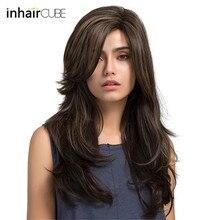 Esin, 24 дюйма, длинные натуральные волнистые парики для женщин, боковое расставание, выделенный синтетический парик, высокая температура, волокно, дышащий парик, Кепка