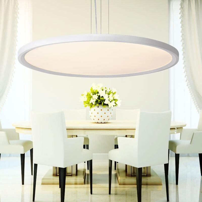 Lumière commerciale blanche noire mince moderne de pendentif LED pour l'éclairage accrochant rond de bureau de salle à manger de salon suspendu