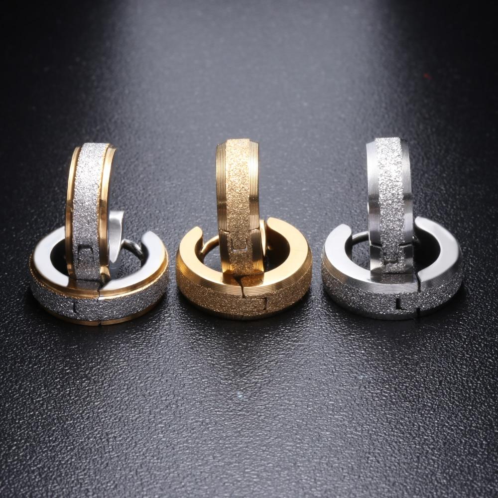 Women Men Punk Rock Small Stainless Steel Hoop Round Cubic Earrings Jewelry Z