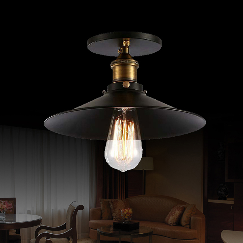5ea6b3ccc59 Loft Vintage Ceiling Lamp Round Retro Ceiling Light Industrial Design Edison  Bulb Antique Lampshade Ambilight Lighting Fixture-in Ceiling Lights from  Lights ...