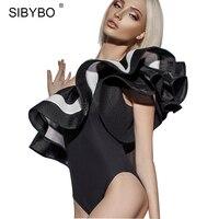 SIBYBO One Shoulder Ruffles Bodysuit Women 2017 Summer Sexy Stripe Bodycon Party Club Women Jumpsuit Romper