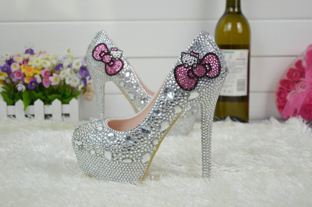 Big yards with 14 cm high crystal high heels The bride wedding shoes diamond KT cat design wedding dress shoes 2017 han edition of the new fashion women s shoes big yards high heels crystal cool slippers 15cm