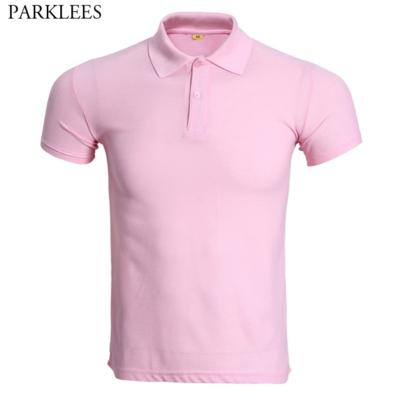 Fashion Pink Short Sleeve Polo Shirt Men 2019 Summer New Solid Color Work Polo Homme Slim Fit Breathable Cheap Polos Para Hombre