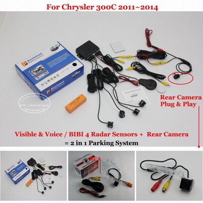 ФОТО Car Parking Sensors + Rear View Back Up Camera = 2 in 1 Visual / BIBI Alarm Parking System For Chrysler 300C 2011~2014