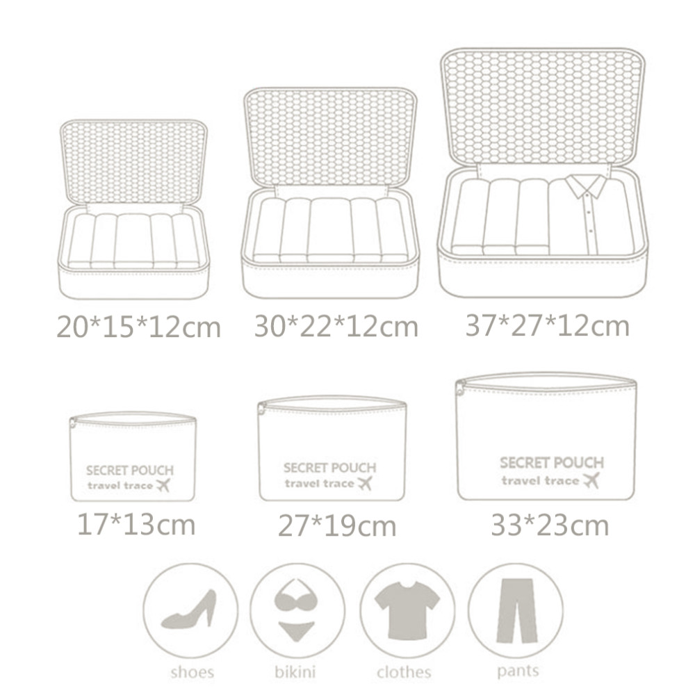 6pcs Set Travel Clothes Storage Organizer Portable Foldable Zipper The 6 In 1 Secret Pouch Bag Organiser Bgo 15 Aeproductgetsubject