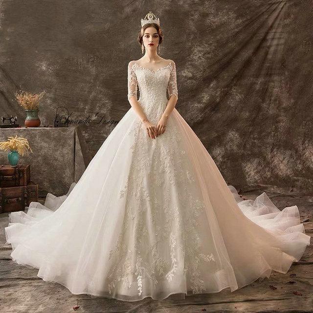 Amanda Design mariage Half Sleeve Lace Appliqued Beading Wedding Dress
