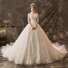 Amanda Thiết Kế mariage Nửa Tay Áo Ren Appliqued Beading Wedding Dress