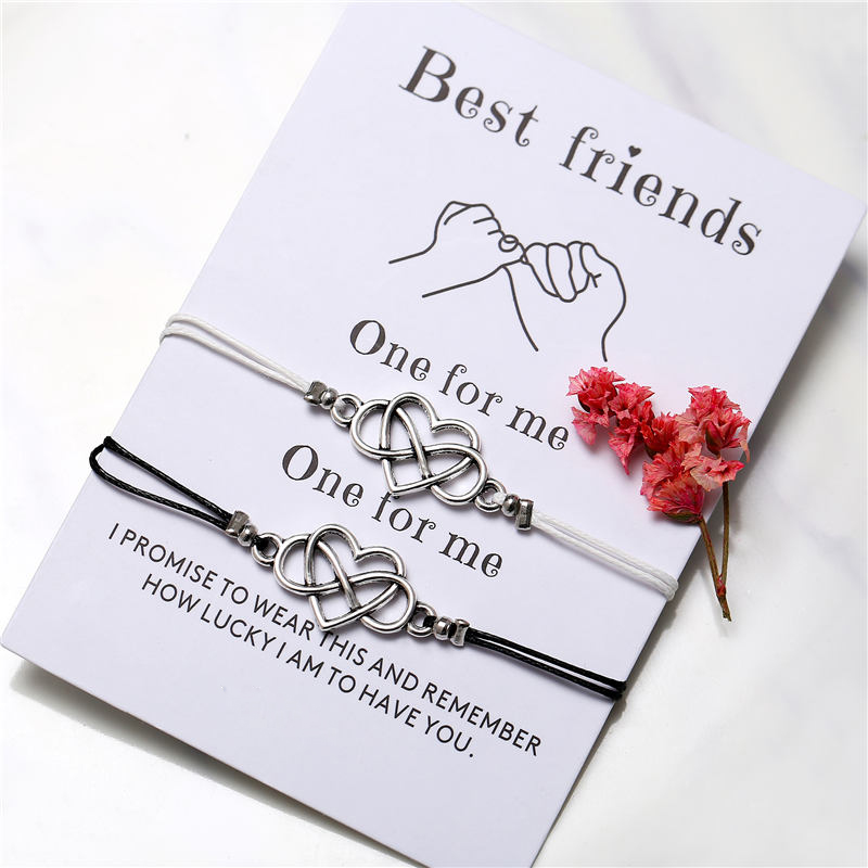 17KM Bohemian Heart Couples Bracelets Set For Women Men Infinite Wing Knot Contrast Bracelet Best Friend Wish Jewelry 2pcs set in Charm Bracelets from Jewelry Accessories