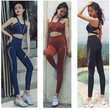 цены Women Yoga Suit Sport Fitness Sets Sport Wear Running Gym Leggings Sports Bra + Workout Gym Pants 2Pcs/Set Sportswear Yoga Sets