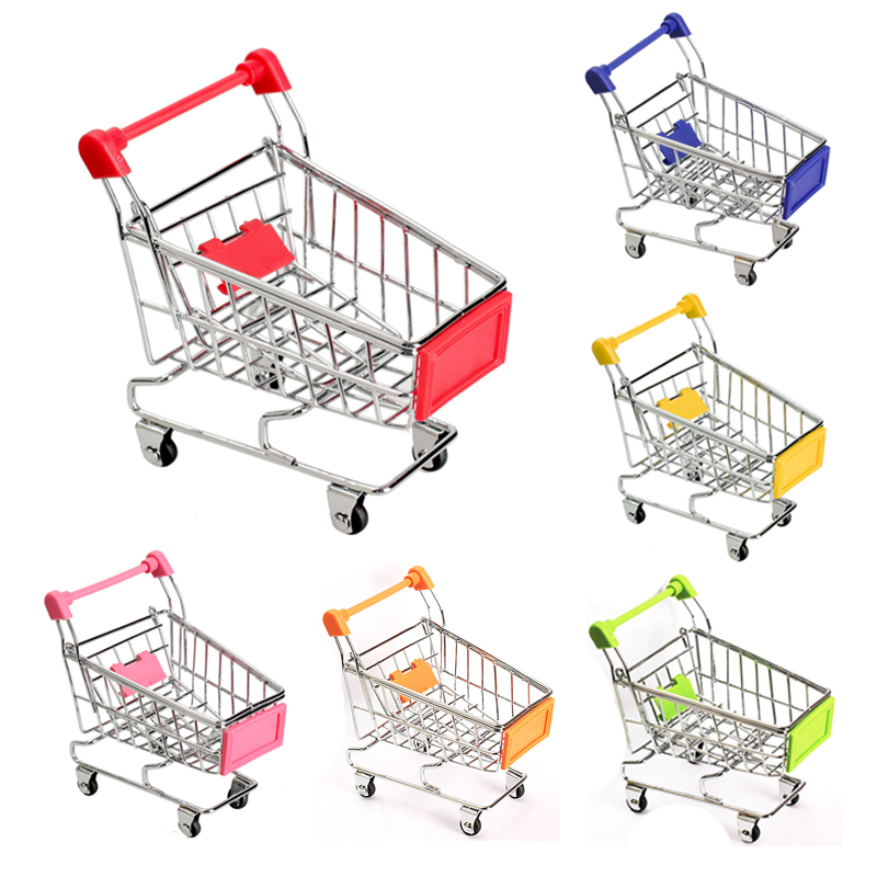 6 Colors Baby Kids Simulation Mini Shopping Cart Toys Supermarket Folding Trolley Handcart Funny Toys Kids Gifts Storage Baskets