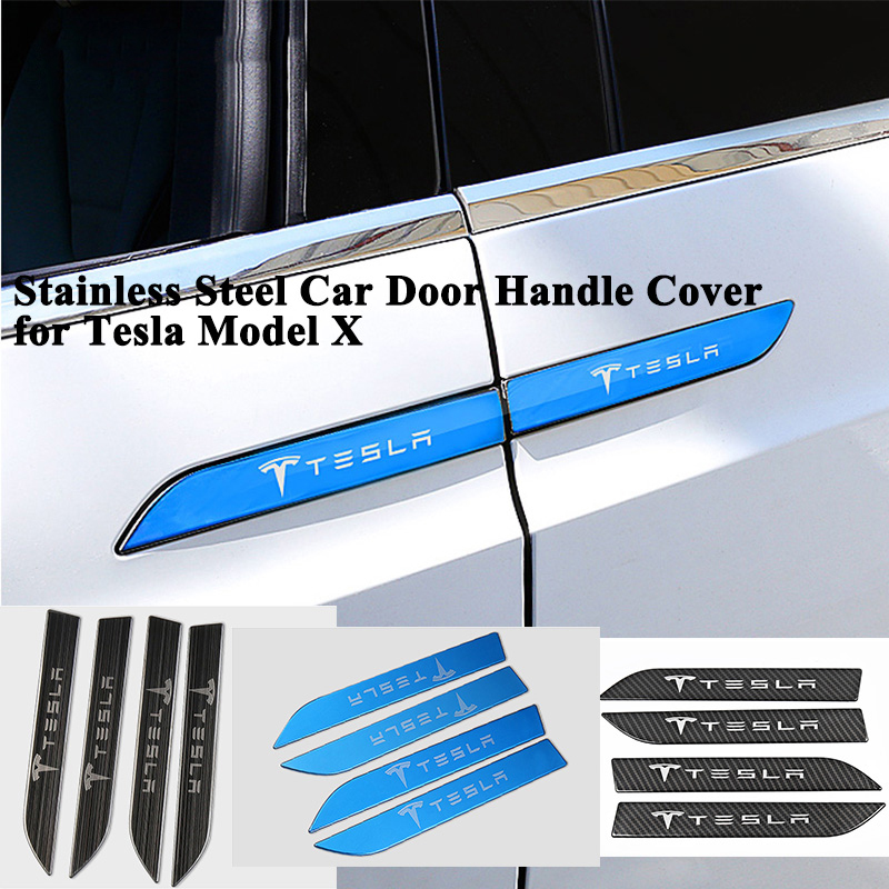 4pcs/set Stainless Steel Car Door Handle Covers Logo Sticker Styling Decoration Protector Accessories for Tesla Model X
