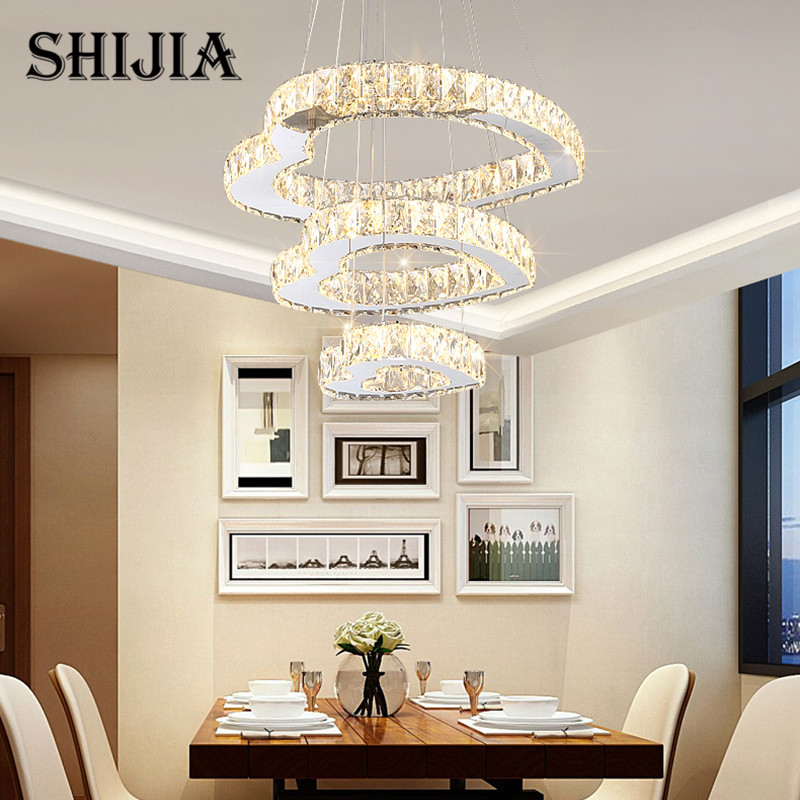 Modern Ring Circle Crystal Chandelier Lighting for Dining Room Restaurant Living Room Bedroom led Pendant Lamp AC 110-240V black crystal chandelier light modern black chandelier lighting bedroom dining room living lobby lamp lighting candle bulb