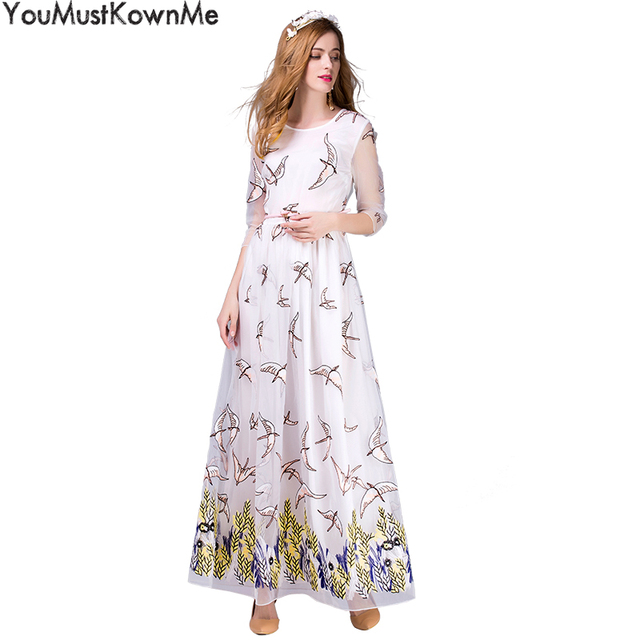 da1211cb5d7 YouMustKnowMe maxi dress summer women three quarter mesh birds floral  embroidered white dresses with sashes for women for party