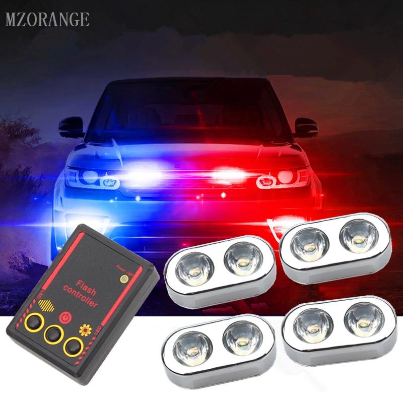 MZORANGE 4x2 LED Car Police Strobe Flash Lights Best Waterproof 8W Small size Car Truck Emergency Warning Reverse Lights 1 Set police pl 12921jsb 02m