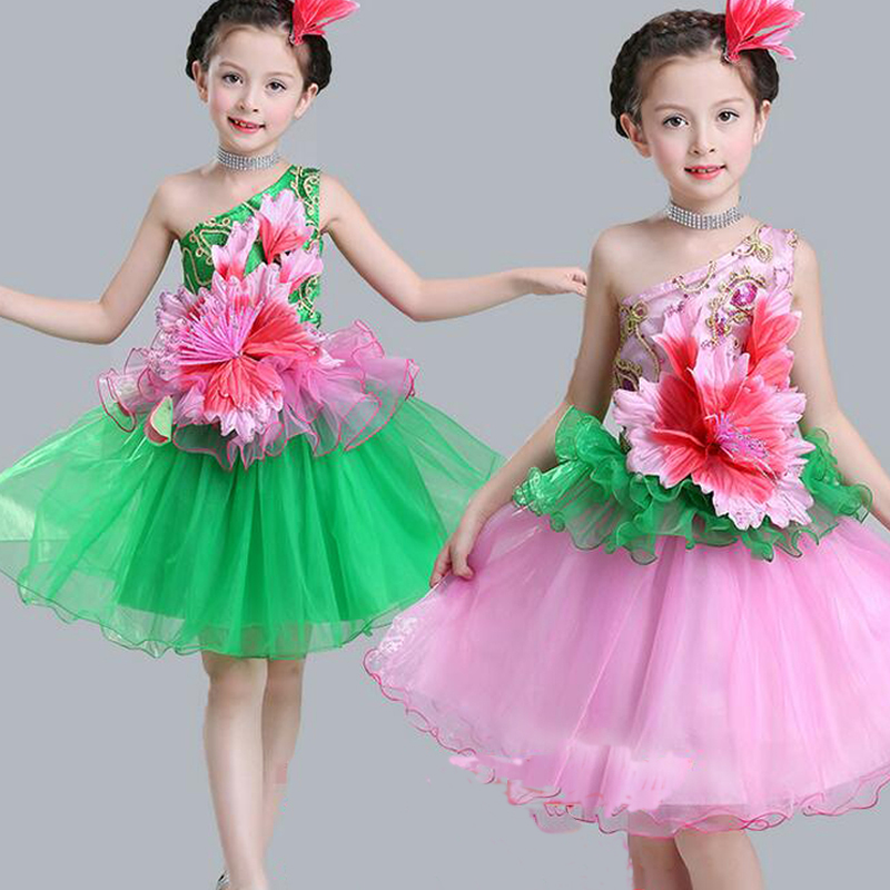Pink Green Kids Party Dance Dresses Clothes For Girls Baby Ballroom Dancewear costumes TUTU Dress Girls Birthday Dress 2016 sale new knee length kids kids dresses for girls free shipping2013 fashion dance dressperformance wear costumes th3004c