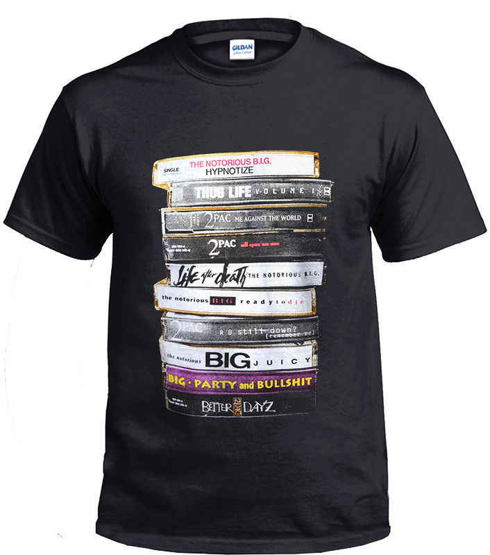 Biggie 2Pac Tapes Notorious Big Tupac Legend Zwart Mannen T-shirt