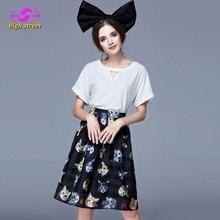 Vestidos Sale Cotton Tracksuits 2016 Summer New Women Set Europe Style Plus Size Women's Clothing Chiffon Shirt + Anza Skirts