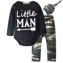 2018 Bebê Recém-nascido Da Menina do Menino Roupas Definir Bodysuits Exército Verde Calça Macacão Bodysuit Crianças Roupas Das Meninas Dos Meninos Traje