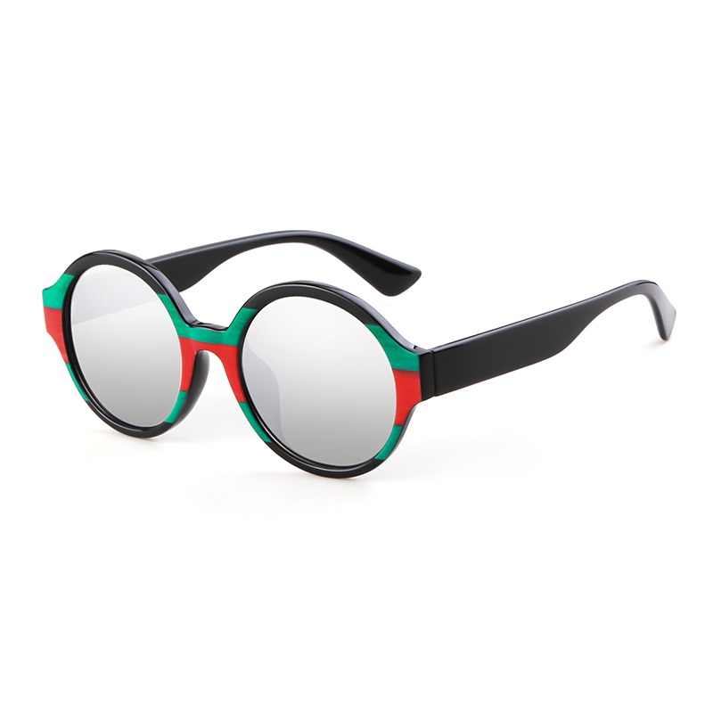 34d61b3e757 WHO CUTIE 2018 Round Designer Sunglasses Women Brand Vintage Tortoiseshell  Red Green Strip Mirror Sun Glasses