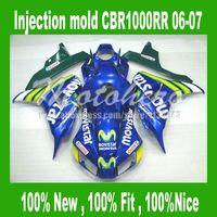 Movistar Carenados para honda CBR1000 RR 06 07 CBR 1000 RR 2006 2007 CBR100RR 06 07 carenado de la motocicleta piezas de verde azul # SA220L