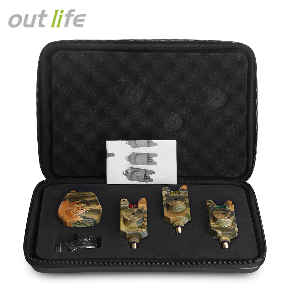 Outlife JY - 35 - 3 Wireless Camouflage Carp <font><b>Fishing</b></font> Bite Alarm Set With Receiver Case <font><b>Fishing</b></font> <font><b>Accessories</b></font> Alicate De Pesca