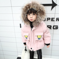 2017 New Real Fashion Girls Oxford Solid Long Hooded Winter Jacket Female Baby Winter Coat 0-3 Years Old Cotton Padded Jacket