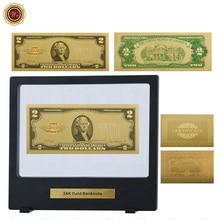 WR 2 доллара 24k золотые банкноты уникальные подарки 2 доллара мировая бумага для денег американская 2 доллара поддельные деньги в черной короб...