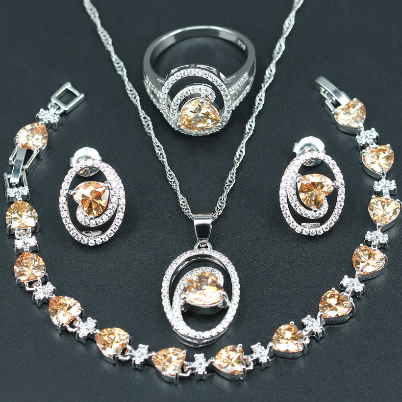 Bridal-Jewelry-Sets Gift Ring/bracelet Silver-Color Women Orange for 925-White Heart-Shaped