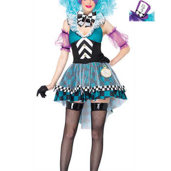 VASHEJIANG  Alice in Wonderland Mad Hatter Costume Adults Women Fantasias Magic Cosplay Halloween Carnival Magician Outfit - DISCOUNT ITEM  10% OFF All Category