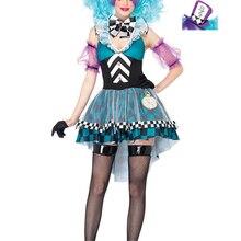VASHEJIANG Alice in Wonderland çılgın şapkacı kostüm yetişkin kadınlar Fantasias sihirli Cosplay cadılar bayramı karnaval sihirbaz kıyafet