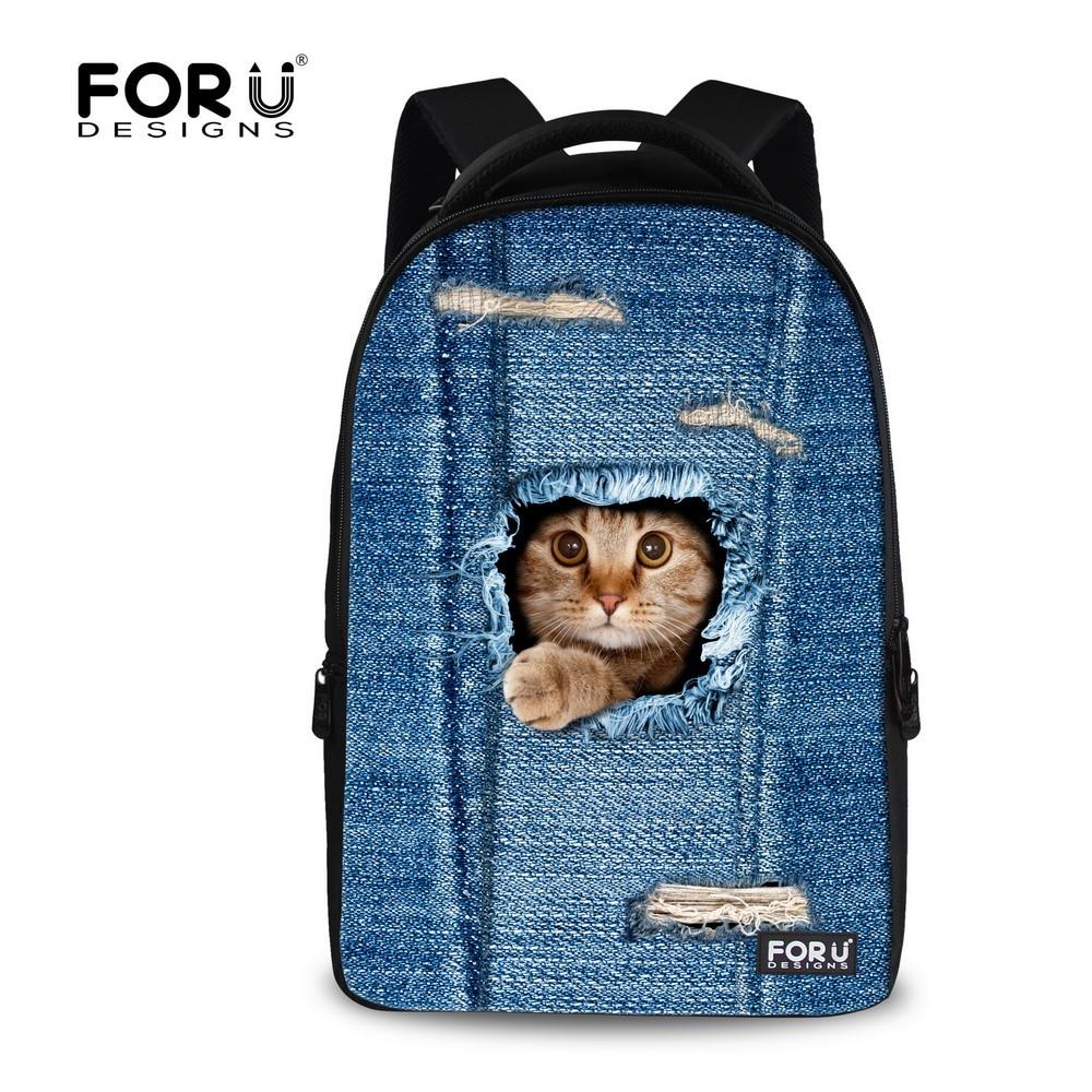 ФОТО Vintage Women School Backpacks Denim Cats Pattern Travel Laptop Bagpack for Female Ladies Animal Women's Satchel Mochilas Mujer