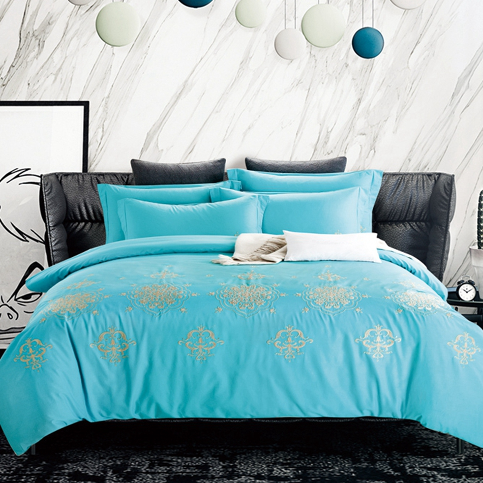 Embroidery price sheet - Bright Blue Queen Bedding Set King Size Embroidered Designer Bedding Quilt Cover Flat Sheet Pillowcase 100