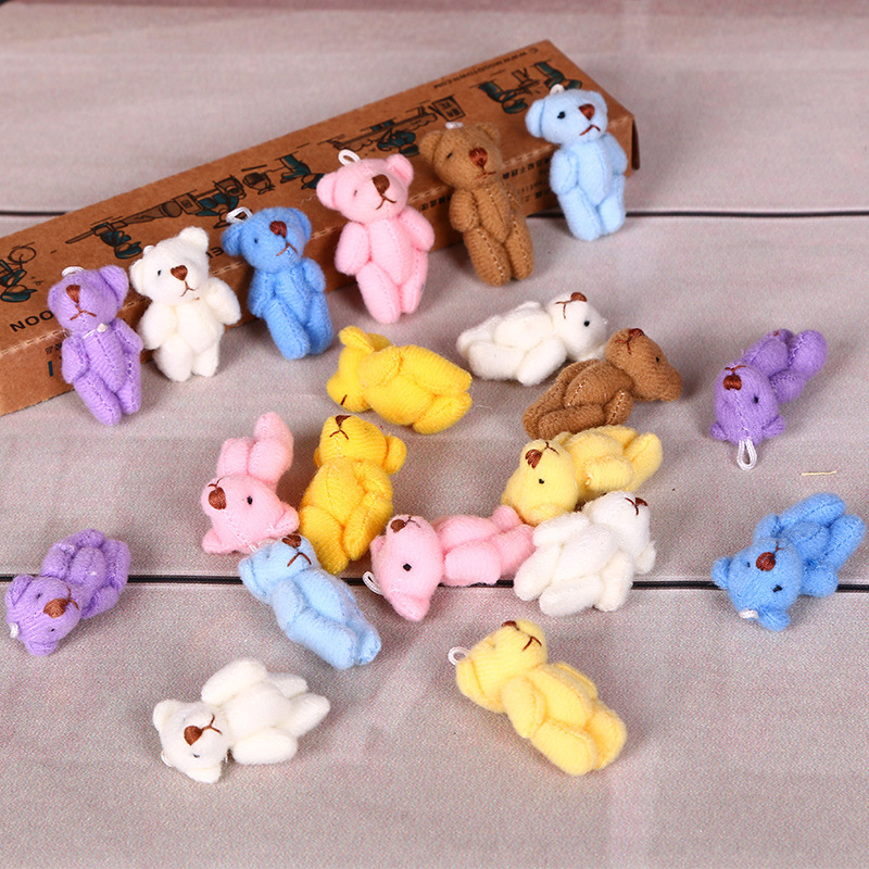 6pcs/lot Cute Mini 3.5cm Joint Bowtie Kawaii Bear Plush Dolls & Stuffed Toys Animal Kids Toys For Children Birthday Gifts