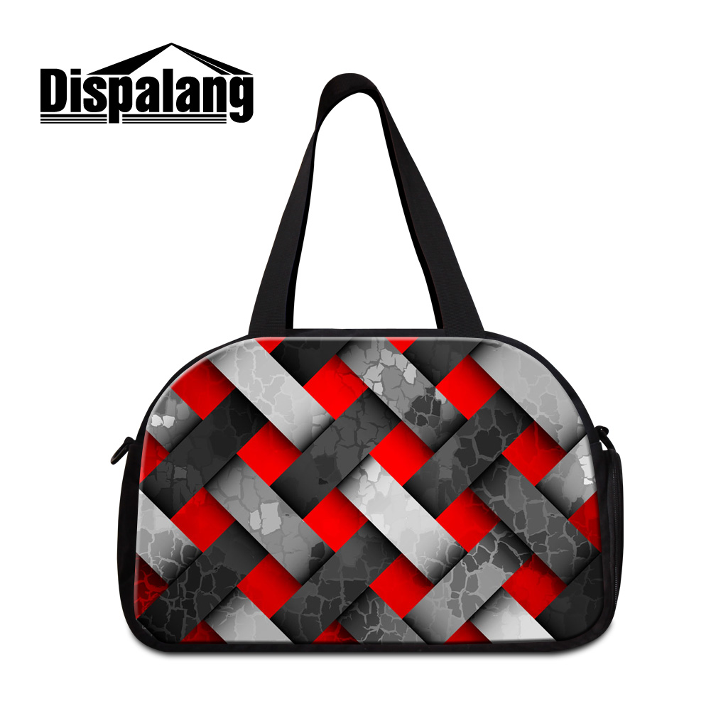 Dispalang new fashion brand designer mens travel bags colorful plaid printing medium women luggage duffle bags with shoes pocket