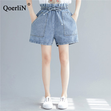 QoerliN Ruffles Waist Jeans Short Girls Lace Up Elastic Pocket Denim Trouser Shorts Women Summer 2019 New Fashion Big Size