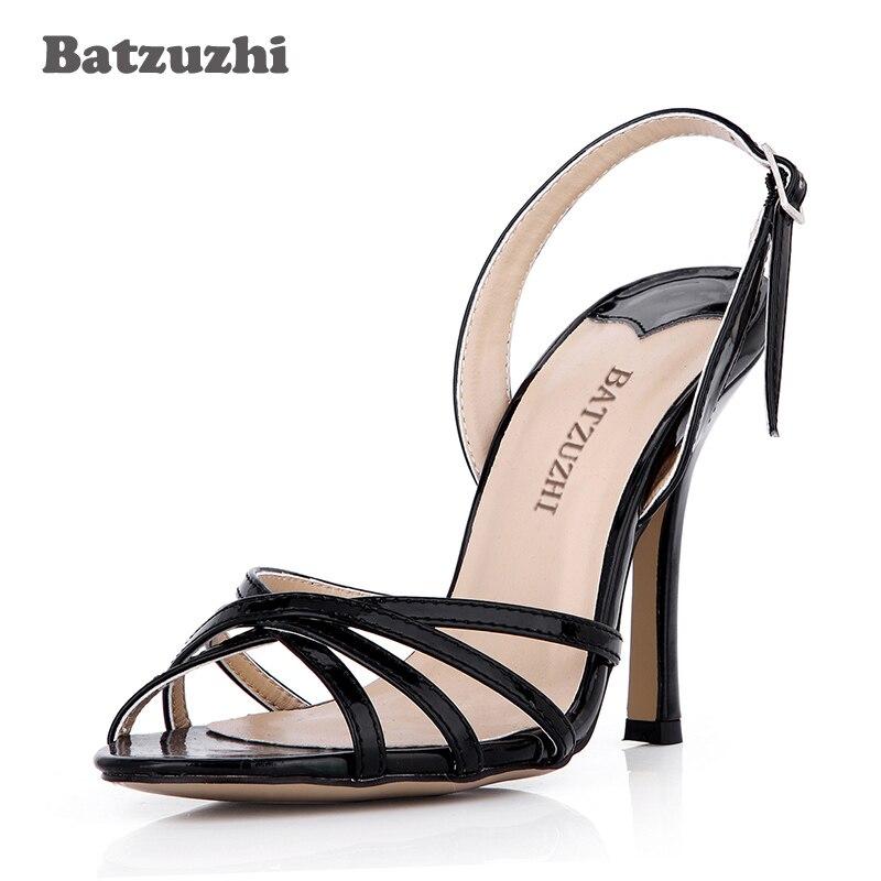 Chaussures Mince Femmes Noir La Sandales Slingback Mode Talon light Main À Cm or35 Batzuzhi De Sandalias 10 D'été Noir Golden Cuir 43 En tshQrxoCBd