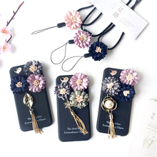 3D Flower Back Cover Cases For Apple iPhone 6 6s 7 Plus Leaf Snowflake Pearl Pendant Tassel Soft Phone Shell Coque With Lanyard