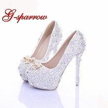ac0f7cc76ef Cinderella High Heels Crystal Wedding Shoes 14cm Thin Heel Rhinestone  Bridal Shoes Round Toe Formal Occasion Prom Shoes