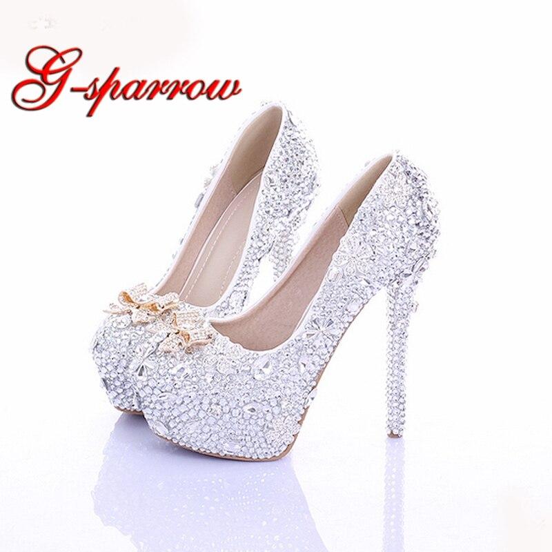 Kopciuszek wysokie obcasy kryształowe buty ślubne 14 cm cienkie obcasy Rhinestone buty dla panny młodej okrągłe Toe formalne okazje Prom buty w Buty damskie na słupku od Buty na  Grupa 1