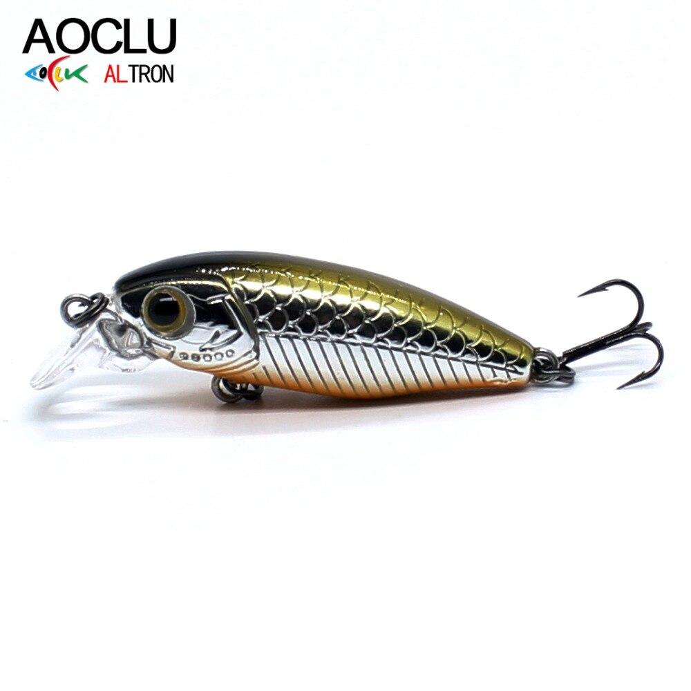 AOCLU Small Minnow Salt Wobbler Lures-Bass Hard-Bait Fishing -Vmc-Hooks Water-14 Tackle
