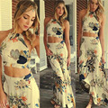 New Style Fashion Women Elegant Floral Backless Beach long Crop Top Skirt Set Two Piece Spaghetti Strap Casual Plus Size CL2762