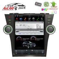 Тесла Стиль для Toyota Highlander 2007 2013 автомобильный gps навигации Bluetooth Радио WI FI 4G вертикальной стерео dvd плеер AUX
