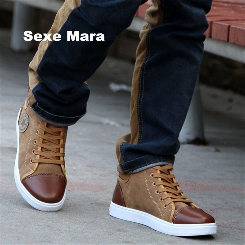 Nueva moda casual hombres zapatos alta ayuda de cuero plana zapatos de lona al aire libre pareja Joker Zapatos Mujer Zapatos Hombre UE 38-47