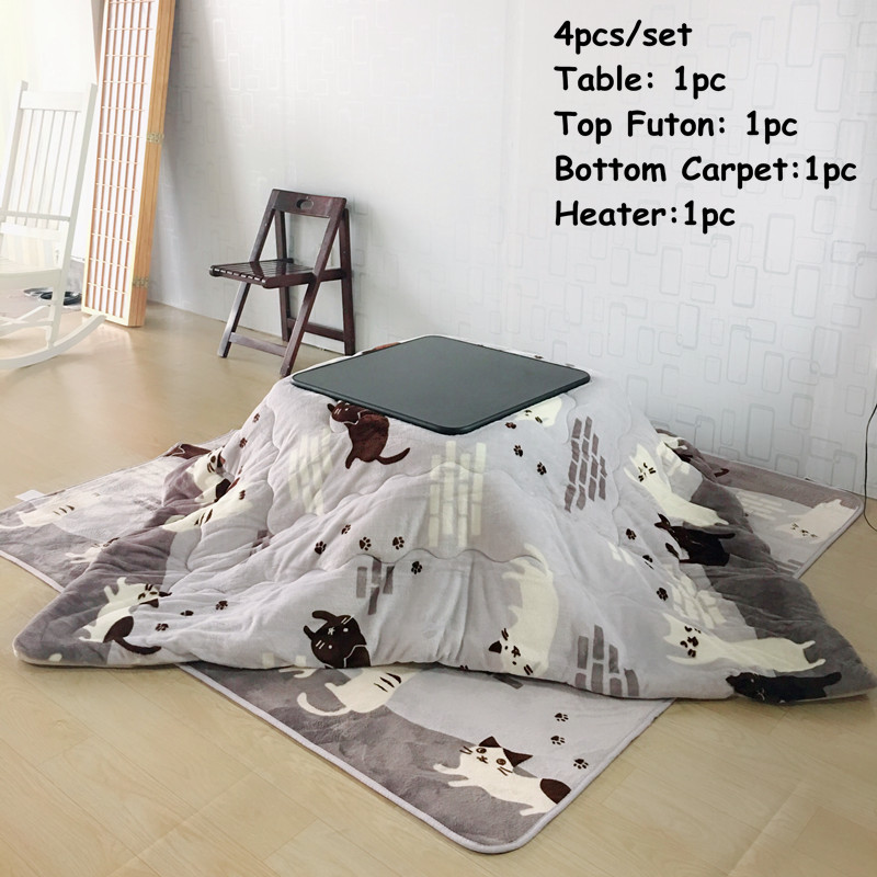 (4 pcs / set) Modern Gaya Jepang Furniture Kotatsu Set Meja Futon Karpet Pemanas Ruang Tamu Furniture Set Pusat Meja Kotatsu